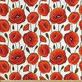 ABAKUHAUS Amapola Tela por Metro, Floral Flor De La Primavera, Decorativa para Tapicería y Textiles...