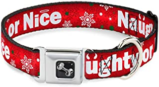 Buckle-Down Seatbelt Buckle Dog Collar - Christmas NAUGHTY OR NICE/Snowflakes Reds/White/Green - 1