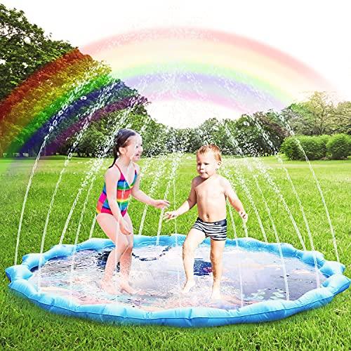 Gifort Tapis de Jeu d'eau Jet et D'éclaboussure 170cm, Tapis de Jouet Aquatique de Pulvérisateur Gonflable Saupoudrer de Pataugeoire, Jouets d'eau de Extérieure d'été pour Les Enfants