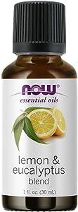 NOW Essential Oils, Lemon & Eucalyptus Oil Blend, Invigorating Aromatherapy Scent, Blend of Pure Lemon Oil and Pure Eucalyptus Oil, Vegan, Child Resistant Cap, 1-Ounce