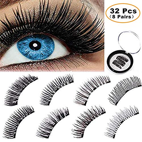BONNIE CHOICE 32 Pcs One Two Lash Magnetic False Eyelashes, 3 Magnets No Glue Ideal for Full Eyes Triple Magnet Hand Made Fake Eye Lash Extension False Set for Natural Look (8 Pairs)