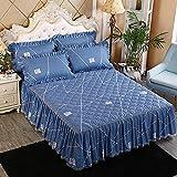 CYYyang Protector de colchón, algodón, poliéster, Falda de Cama Individual de Sarga gruesa-25_180 * 220cm