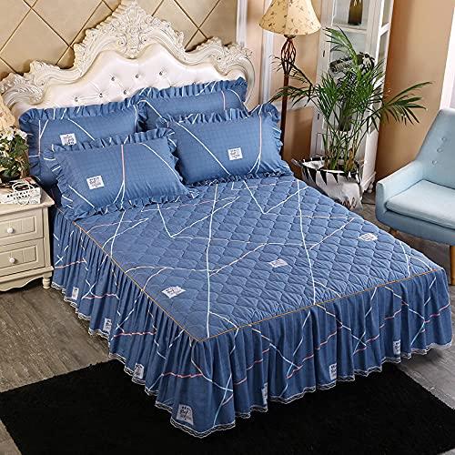 CYYyang Protector de colchón, algodón, poliéster, Falda de Cama Individual de Sarga gruesa-25_120 * 200cm