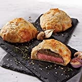 Beef Wellington Finest Filet Mignon Layered with savory mushroom duxelle Wrapped in light, flaky puff pastry Just heat and serve!