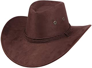 UwantC Mens Faux Felt Western Cowboy Hat Fedora Outdoor Wide Brim Hat with  Strap 5fd1ac50cd35