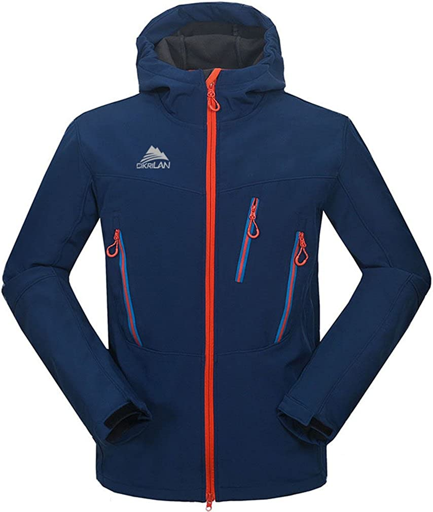 CIKRILAN Men's Soft Shell Fleece Lining Jacket Climbing Hooded Breathable Coat