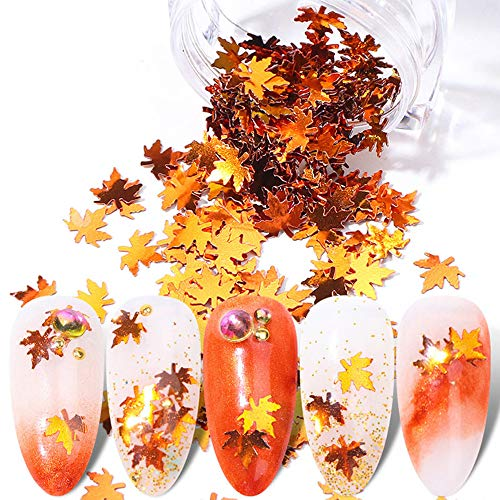 1Box Maple Leaf Nail Glitter Sequins Nail Supplies Holographic Fall Leaves Paillette Chameleon Sparkles Nails Flakes Foil Autumn Designs Nail Art Stickers Gold Yellow Manicure Decoration