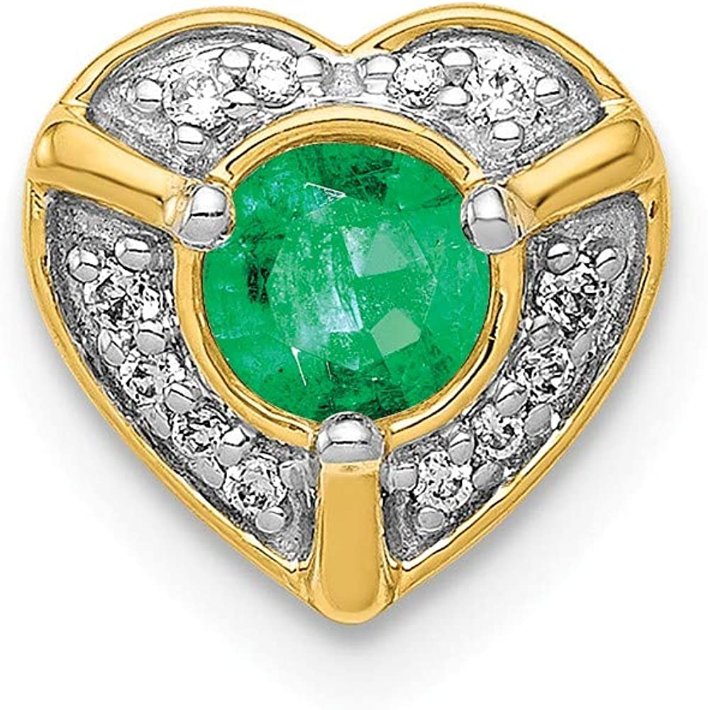 Real 14kt Direct stock discount Yellow Gold Diamond Pendant Emerald Limited time for free shipping Fancy Heart