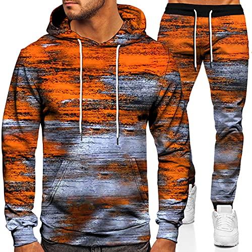 URVIP Unisex 3D-Bedruckter Hoodie Zweiteiliges Set Tie-Dyed Trainingsanzüge Kapuzenpullover Jogger Gym Sport Sweat Anzug Hosen Outfits Colour-04 4XL