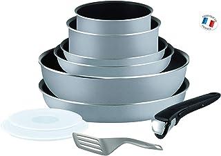 Tefal Ingenio Essential Scottish L2149602 Juego De Sartenes Y Cacerolas Con Mango Extraíble, 16/18/20/22/26 Cm, Revestimiento Antiadherente, Gris
