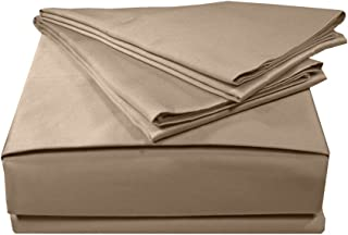 Veratex Solid Collection 300 Thread Count 100% Egyptian Cotton Sateen Bedroom Sheet Set With Embroidered Hem Design, King Size, Taupe