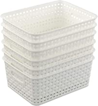 Qqbine Plastic Woven Storage Baskets Kitchen Organizer, White, 6 Packs