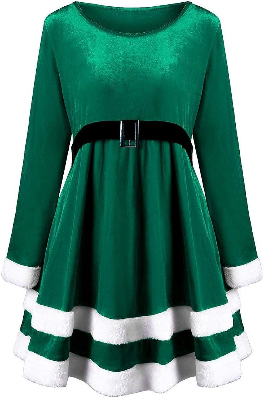 BMTH Women's Santa Plus Size Long Sleeve Round Neck Velvet Mini Dress