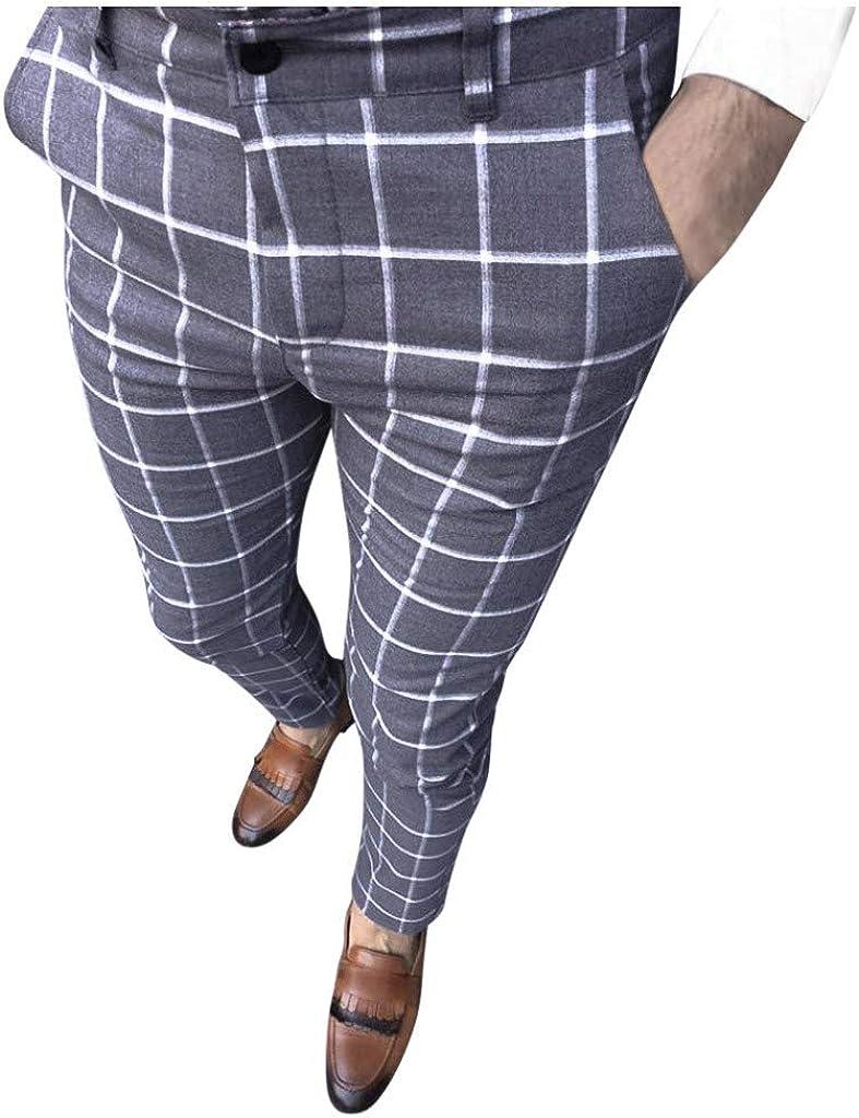 YUNDAN Business Dress Pants for Mens Fashion Basic Plaid Print Slim Fit Long Pants Trousers