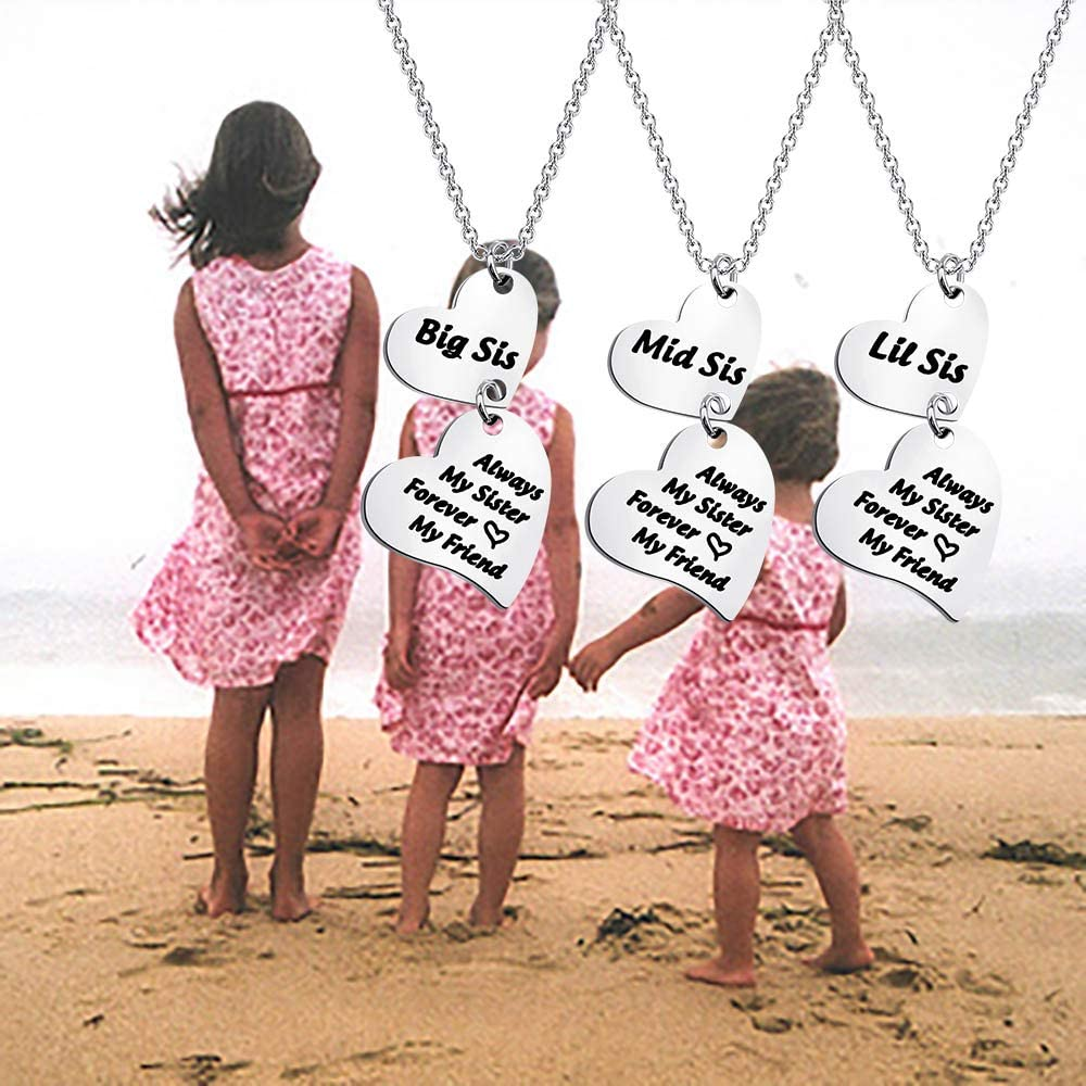 ENSIANTH Sister Jewelry Big Middle Little Sister Necklace Always My Sister Forever My Friends Sister Heart Necklace Set for 2 3 Gift for Friends