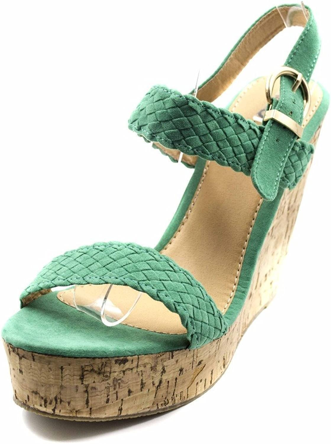 Orly shoes Women's Suede Braided Peep Toe Cork Wedge Sandals with Back Srap