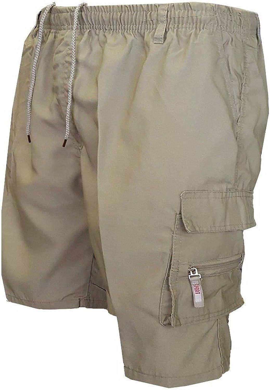 Segindy Men's Loose Outdoor Cargo Shorts Summer Fashion Solid Color Multi-Pocket