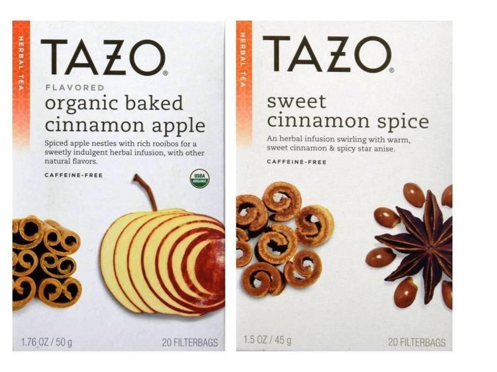 Tazo Herbal Spiced Tea Bundle: 1 Organic Baked Cinnamon Apple, 1 Sweet Cinnamon Spice (2 Items)