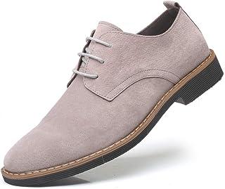 WUIWUIYU Men's Lace-up Casual British Fashion Suede Canvas Shoes
