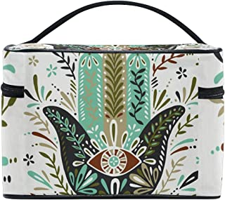 Hamsa Hand Cosmetic Bags Organizer- Travel Makeup Pouch Ladies Toiletry Train Case for Women Girls, CoTime Black Zipper and Flat Bottom