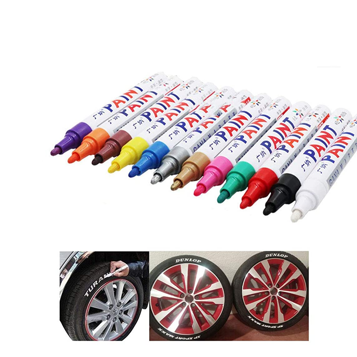 12 Pieces Waterproof Tire Pen Tire Marker Car, CD Metal Permanent Color Marker Motorcycle Bicycle Tire Tire Marker Pen Kicking Marker Pen Fills Scratches