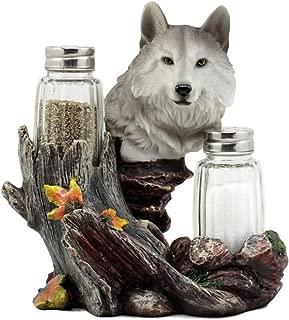 Ky & Co YK Full Moon Lone Alpha Gray Wolf Glass Salt & Pepper Shakers Holder Figurine Decor
