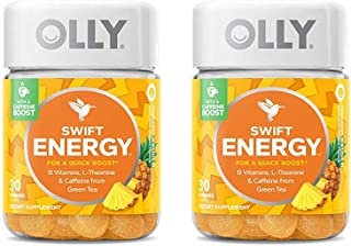 OLLY Swift Energy Gummy Pack of 2! Pineapple Punch Flavored Chewy Gummy! Blend of B Vitamins, L Theanine, Caffeine from Green Tea! Energy Booster Chewable Supplement!