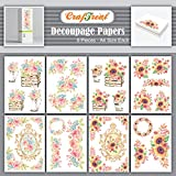 Craftreat Decorative Sunflower Decoupage Paper Pack Flower Bouquet - Beautiful Flower And Sunflower Vintage Decoupage Papers Floral - 8 Pcs - Size: A4 - Rose Decoupage paper Flower Beauty