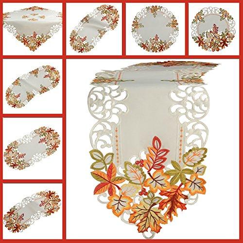 Quinnyshop Herbst Tischläufer Tischdecke Weiß gestickt mit bunten Blätter Mitteldecke Deckchen (ca. 85 x 85 cm)