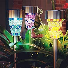 Solar Garden Lights Outdoor - Adecorty Solar Garden Stake Lights 3 Color Solar Path Lights, Landscape Lights for Garden Path Walkway Patio Lawn Outdoor Christmas Halloween Decorations, 3 Pack