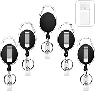 5 Pack Heavy Duty Retractable Badge Holders with Carabiner Reel Clip and Vertical Style Clear ID Card Holders, 24 inches Thick Kevlar Pull Cord
