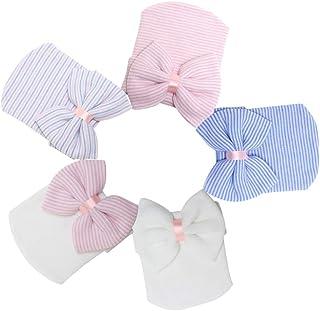Gorro de Nudos con Lazo, Gorro de Ganchillo Grande Gorro de Punto para bebé recién Nacido Azul Colorido Blanco Rosa Blanco Sombrero Blanco fotografía Rosa Prop - 5 Piezas