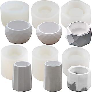 Funshowcase Octagon & Round Flower Pot Silicone Moulds 6-Count, for Epoxy Resin Concrete Clay Succulent Planter Bowl Ashtr...