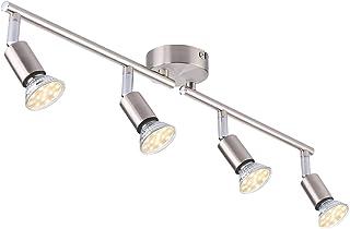 Plafonnier LED 4 Spots orientables, Argent 4 x 4W GU10 Barre Spot Plafond LED Eclairage intérieur pour Salon Salle à Mange...