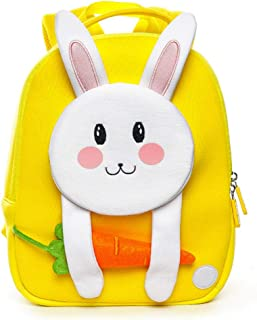 Lovely 3D Rabbit Kindergarten Kids Animal Backpack Cartoon Carrot Kids School Bag Waterproof Neoprene(Yellow)