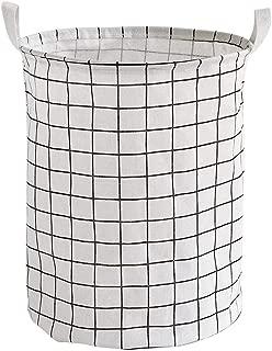 Q.AWOU Laundry Baskets Round Large Cotton Linen Foldable Dirty Hamper Clothes Sundries Storage Basket (Color : White)