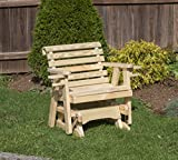 Amish Heavy Duty 600 Lb Roll Back Pressure Treated Porch Patio Garden Lawn Outdoor Glider Chair with Cup Holders-2...