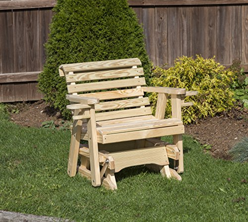 Amish Heavy Duty 600 Lb Roll Back Pressure Treated Porch Patio Garden Lawn Outdoor Glider Chair with Cup Holders-2 Feet-Natural-Made in USA