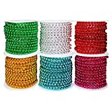 HANDI STITCH Perlengirlande Perlenschnur (6 Rollen) - (2.7 m) 3mm Runde Perlenband Perlenkette fur...