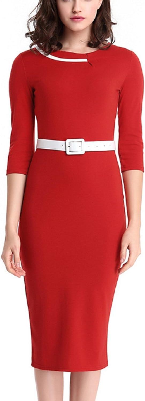 Hoyod Women Half Sleeve Wear to Work with Belt Dress