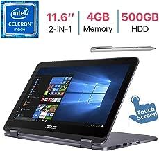 Asus VivoBook Flip 11.6-inch 2-in-1Touchscreen HD Display Laptop/Tablet PC, Intel Celeron N3350, 4GB RAM, 500GB HDD, Bluetooth, WiFi, Webcam, USB Type C, Fingerprint Reader, Stylus Pen, Windows 10