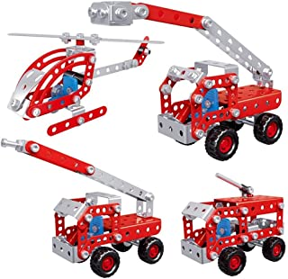 Rubik DIY STEM Toys Kit, Include Fire Truck Fire Pumper Fire Engine and Helicopter Toys for Boys 8+, 4in1 Creative Metal C...