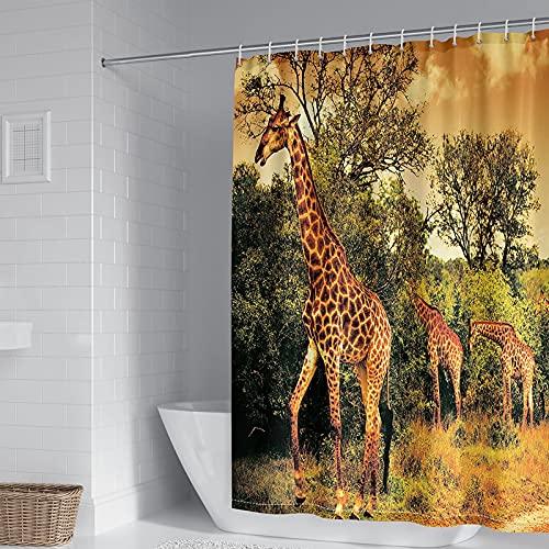 Cortina de ducha de baño de 180 x 180 cm, a prueba de moho y resistente al moho, lavable, marrón y verde