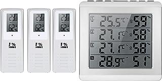 Katerk Mini LCD digital inalámbrico interior/exterior termómetro higrómetro de cuatro canales ℃/℉ Medidor de humedad de te...