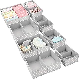 mDesign Soft Fabric Dresser Drawer and Closet Storage Organizer Set for Child/Kids Room, Nursery, Playroom, Bedroom - Rect...