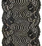 Yalulu 5 Yards Elastische Spitze Trim Blume Spitzenband Trim DIY Kunsthandwerk Weich W&erschöne Spitzenbordüre Nähen (Schwarz)