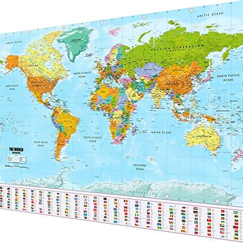 GOODS+GADGETS Weltkarte XXL Poster im Riesenformat mit Fahnen & Flaggen - Top Qualität (140x100cm)