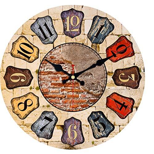 MINGKK Reloj de pared de madera con escudo antiguo, reloj de pared para decoración del hogar, arte de la pared, reloj de pared grande, sin tictac, decoración creativa de 30 cm