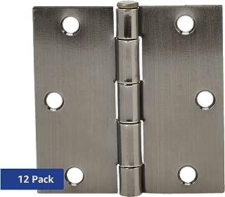 AmazonBasics Square Door Hinges, 3.5 Inch x 3.5 Inch, 12 Pack, Satin Nickel