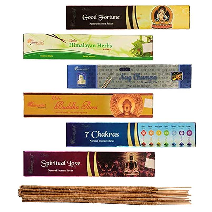 愛情深い機関決定aromatika 6?Assorted Masala Incense Sticks Vedic Nag Champa、7チャクラ、ブッダFlora、Himalayanハーブ、Good Fortune、Spiritual Love WithメタルSun Incense Stick Holder